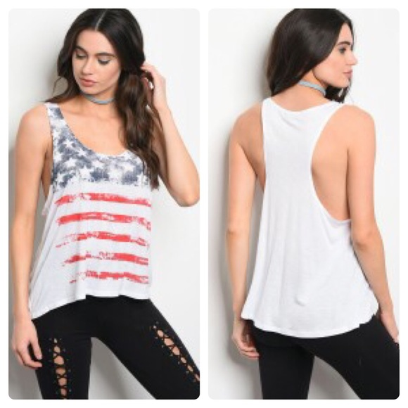 Inspired Closet Tops - 3 FOR $40 • American Flag Racer Back Tank Top